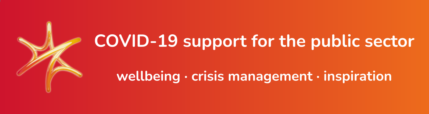 "Banner with the text ""COVID-19 support for the public sector"" and a sub-heading ""wellbeing, crisis management, inspiration"""